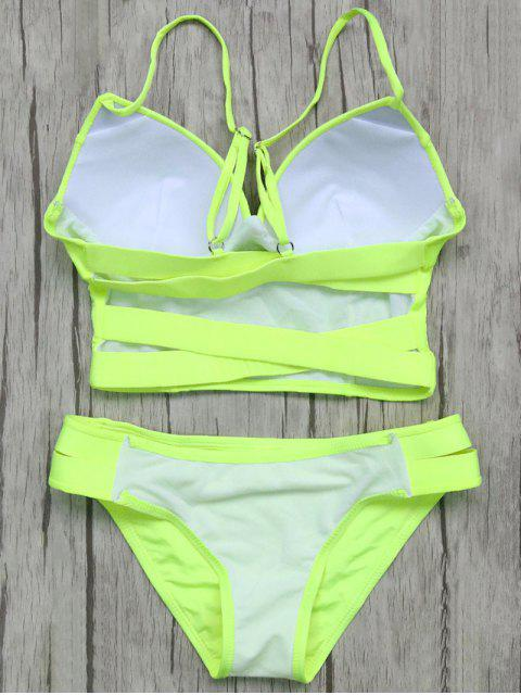 new Long Line Bikini Top and Bottoms - NEON GREEN L Mobile