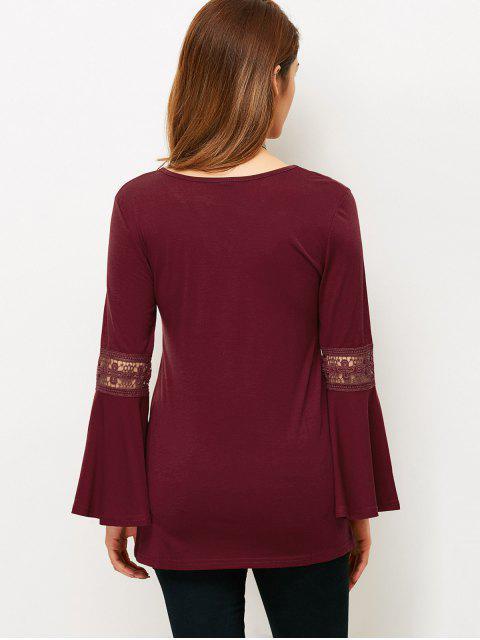 T-Shirt à lacets à manches évasées - Rouge vineux  L Mobile