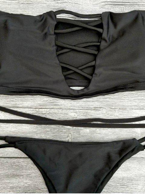 fashion Lace-Up Off The Shoulder Bikini Set - BLACK S Mobile