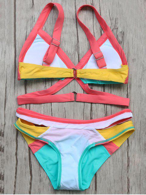 ladies Patchwork Bandage Bikini Set - TURQOISE L Mobile