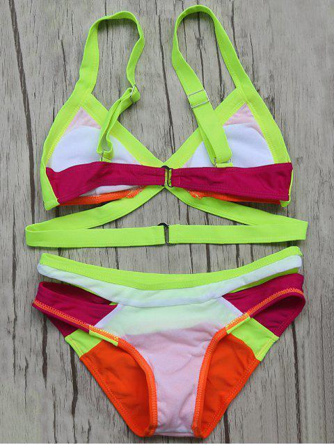 hot Patchwork Bandage Bikini Set - ORANGE RED S Mobile