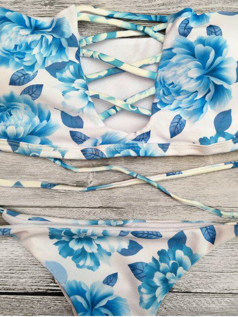 sale Cut Out Off The Shoulder Bikini Set - BLUE L Mobile