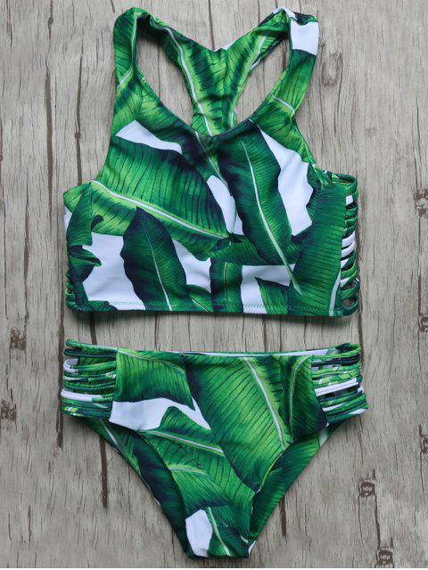 sale Leaves Print Cut Out Bikini Set - GREEN L Mobile