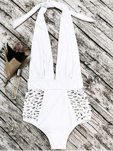 affordable High Waisted Plunge Neck Hollow Out Tummy Control Swimsuit - WHITE M Mobile