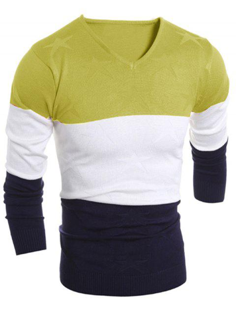 buy V Neck Color Block Star Sweater - LIGHT GREEN L Mobile