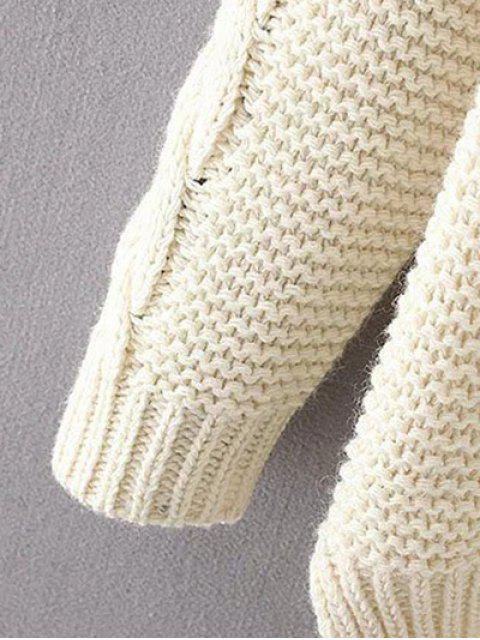 new High Low Cable Knit Jumper Sweater - OFF-WHITE ONE SIZE Mobile