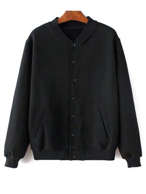 buy Button Up Baseball Jacket - BLACK L Mobile