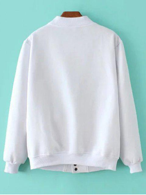 online Button Up Baseball Jacket - WHITE S Mobile