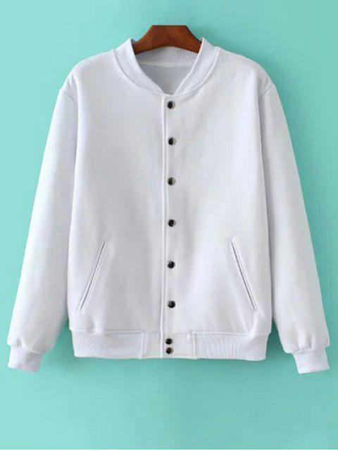 lady Button Up Baseball Jacket - WHITE L Mobile