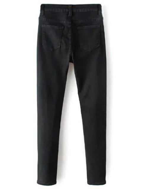 women High Waisted Zip Fly Jeans - BLACK S Mobile