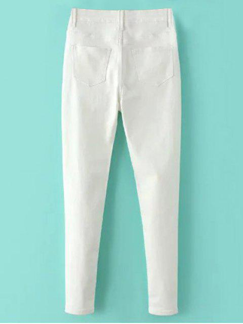 hot High Waisted Zip Fly Jeans - WHITE S Mobile