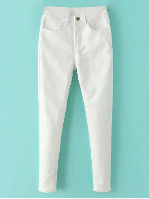 new High Waisted Zip Fly Jeans - WHITE M Mobile