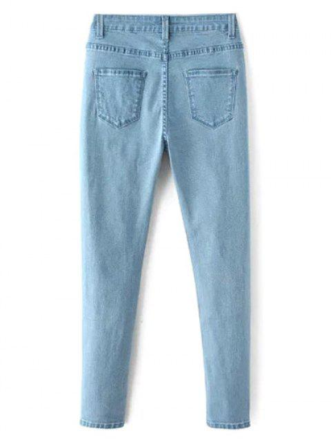 shops High Waisted Zip Fly Jeans - LIGHT BLUE XL Mobile