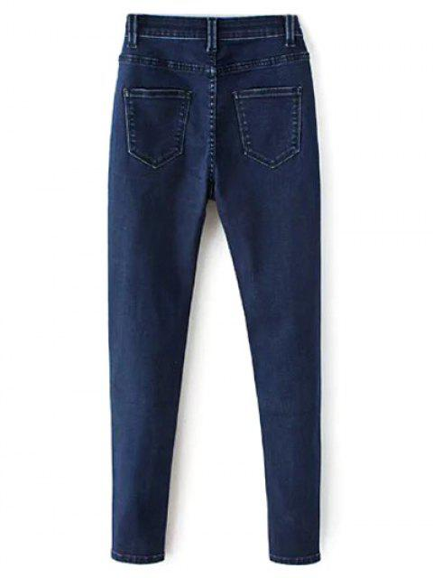 buy High Waisted Zip Fly Jeans - DEEP BLUE M Mobile