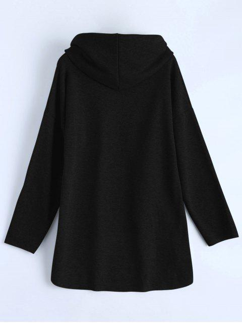 unique High-Low Tunic Hoodie - BLACK S Mobile