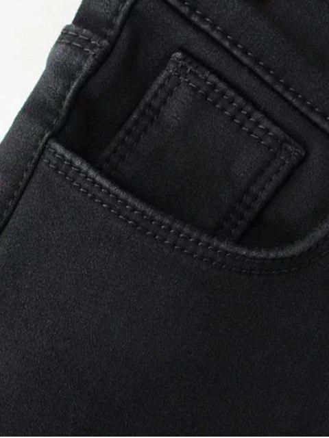 unique Super Elastic Wool Blend Pencil Jeans - BLACK S Mobile