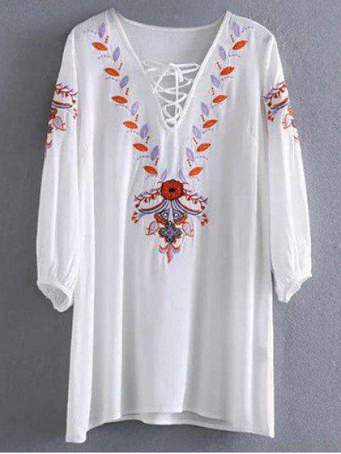 outfits Embroidered Lace Up  Mini Tunic Dress - WHITE L Mobile