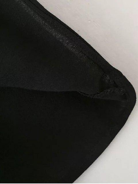 latest Embroidered Lace Up  Mini Tunic Dress - BLACK L Mobile