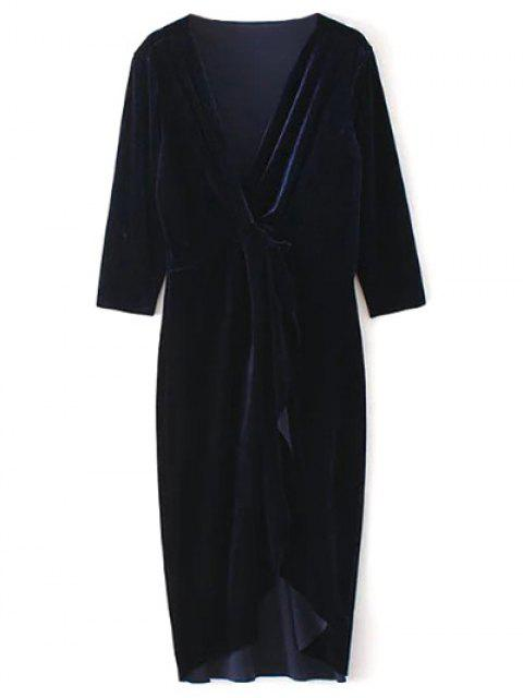 women's Asymmetric Velvet Midi Wrap Dress - PURPLISH BLUE L Mobile