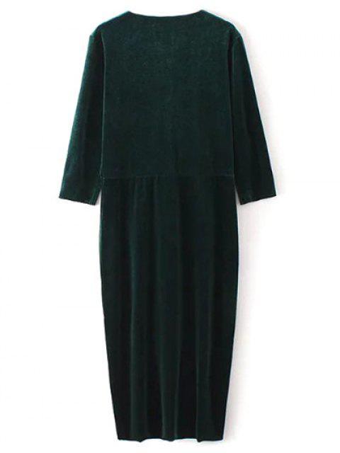 new Asymmetric Velvet Midi Wrap Dress - BLACKISH GREEN S Mobile