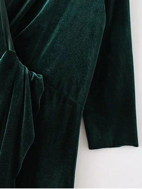 online Asymmetric Velvet Midi Wrap Dress - BLACKISH GREEN M Mobile