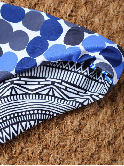 outfit Polka Dot Tribal Print Bikini Top and Bottoms - MULTICOLOR S Mobile