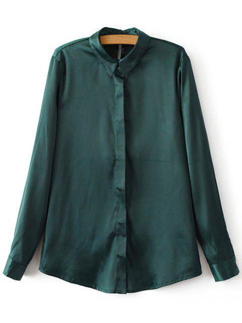 women's Satins Formal Shirt - GREEN M Mobile