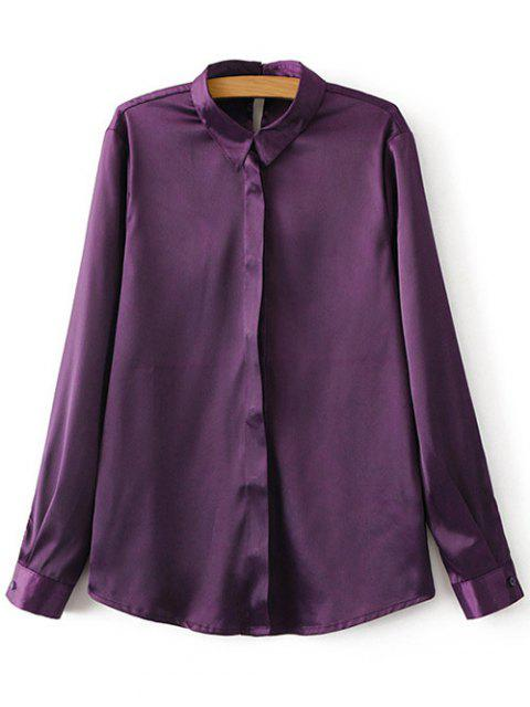 online Satins Formal Shirt - PURPLE S Mobile