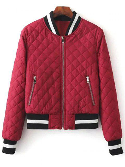 shop Zip Up Padded Pilot Jacket - WINE RED S Mobile