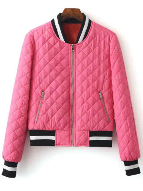 chic Zip Up Padded Pilot Jacket - ROSE RED M Mobile