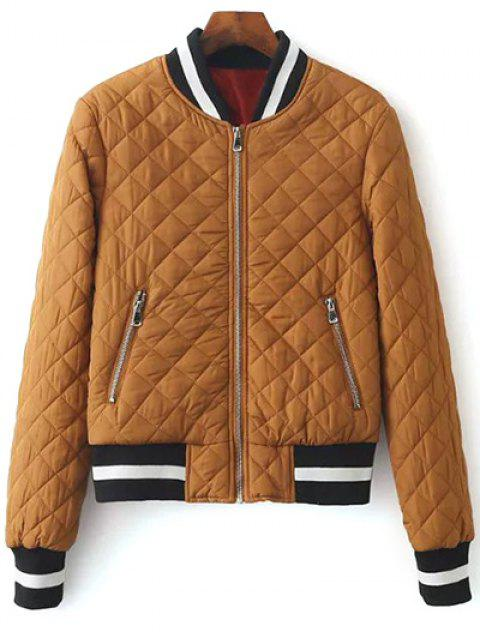 affordable Zip Up Padded Pilot Jacket - LIGHT COFFEE S Mobile