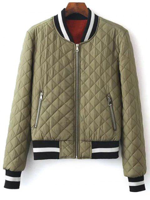 women Zip Up Padded Pilot Jacket - OLIVE GREEN S Mobile