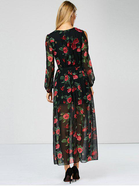 womens Floral See Through Maxi Swing Dress - BLACK XL Mobile