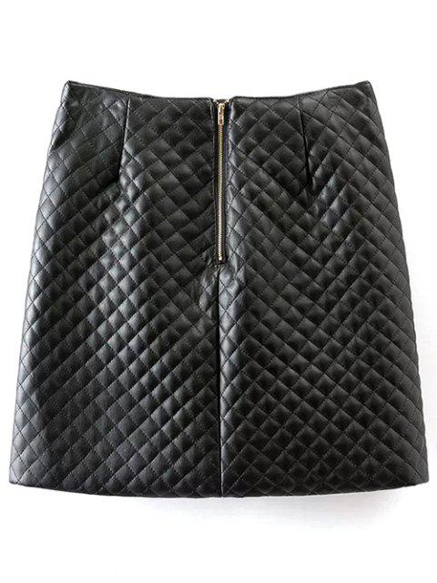 outfit Rivet PU Leather Bodycon Skirt - BLACK M Mobile