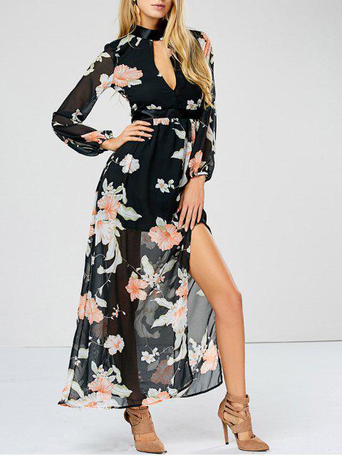 online Slit Floral Keyhole Sheer Swing Dress - FLORAL M Mobile