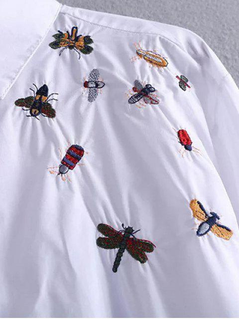 new High Low Insects Embroidered Shirt - WHITE M Mobile