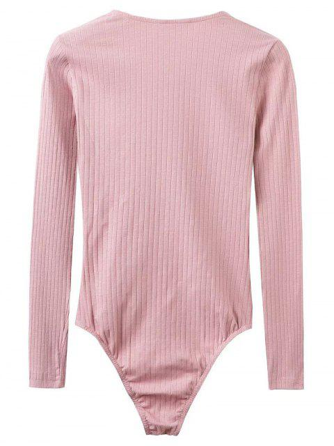ladies Skinny Ribbed Lace Up Bodysuit - PINK S Mobile