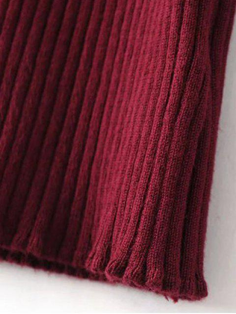 trendy Turtleneck Sleeveless Sweater Dress - BURGUNDY ONE SIZE Mobile
