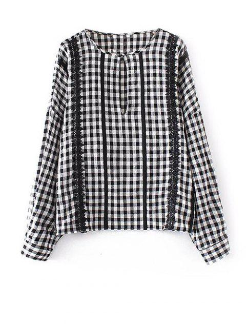 womens Keyhole Gingham Check Blouse - WHITE AND BLACK S Mobile