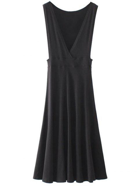 chic Midi Flared Tank Dress - BLACK S Mobile