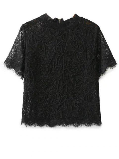 ladies Mock Neck Lace Top - BLACK S Mobile