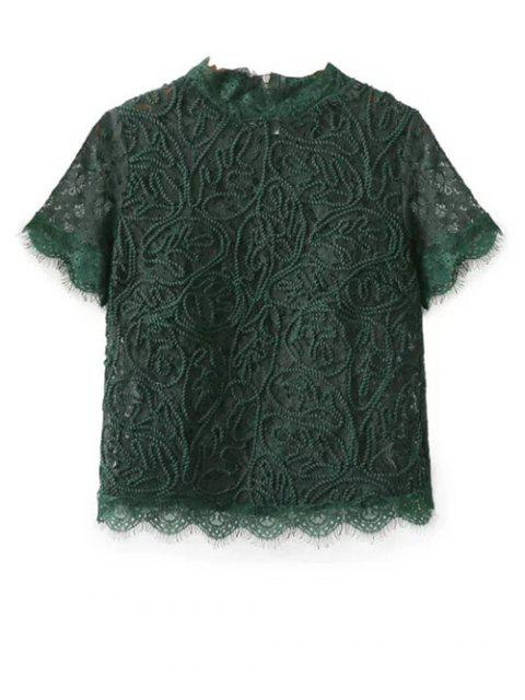 online Mock Neck Lace Top - GREEN S Mobile