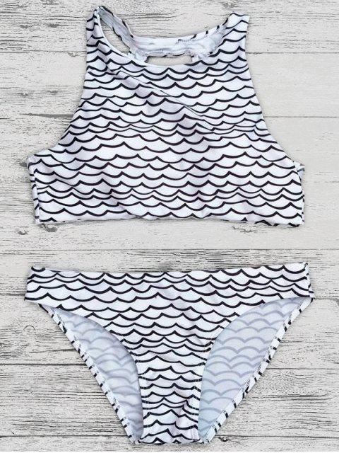 hot Cut Out Wavy Print Cropped Bikini Set - BLACK S Mobile