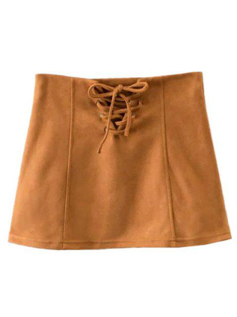 women's Faux Suede Lace Up Mini Skirt - CAMEL M Mobile