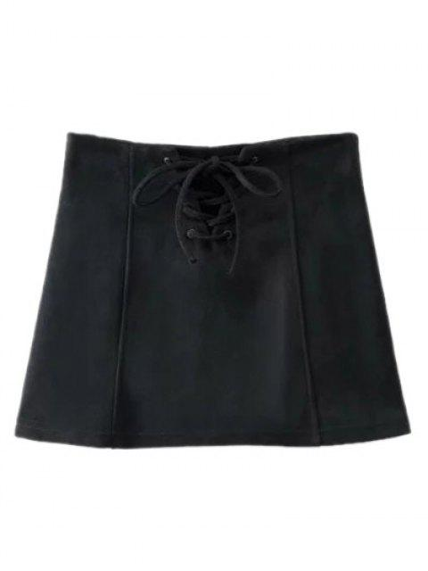 online Faux Suede Lace Up Mini Skirt - BLACK S Mobile