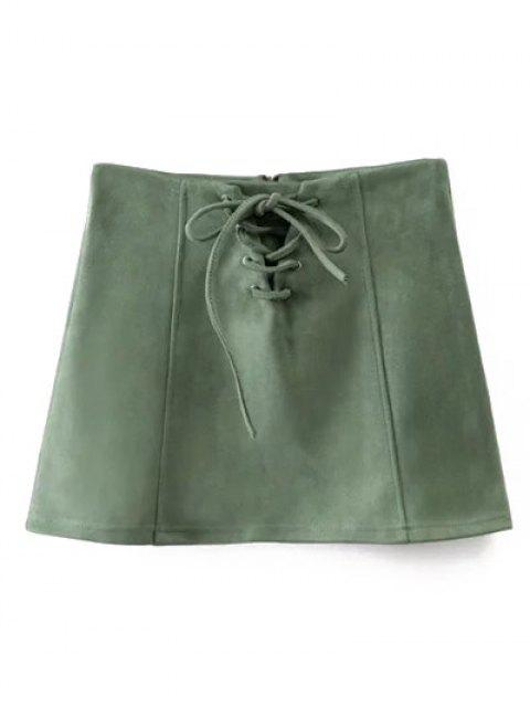 new Faux Suede Lace Up Mini Skirt - GREEN L Mobile
