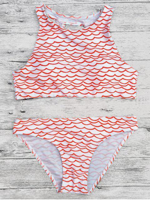 outfit Cut Out Wavy Print Cropped Bikini Set - RED L Mobile