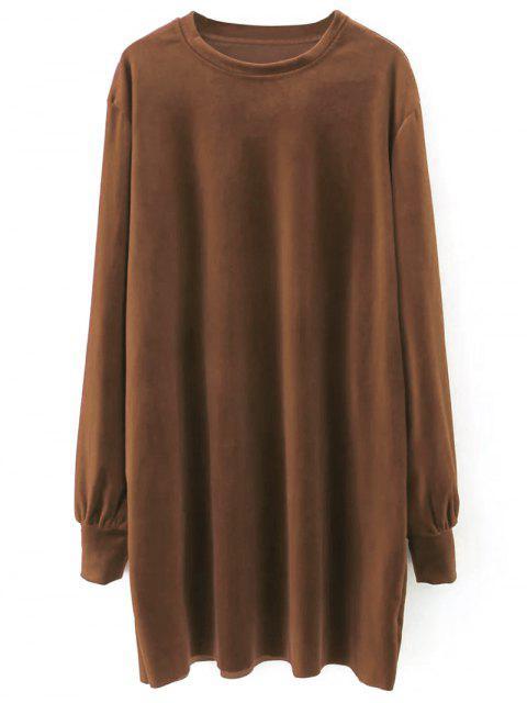 fashion Velvet Tunic Dress - BROWN L Mobile