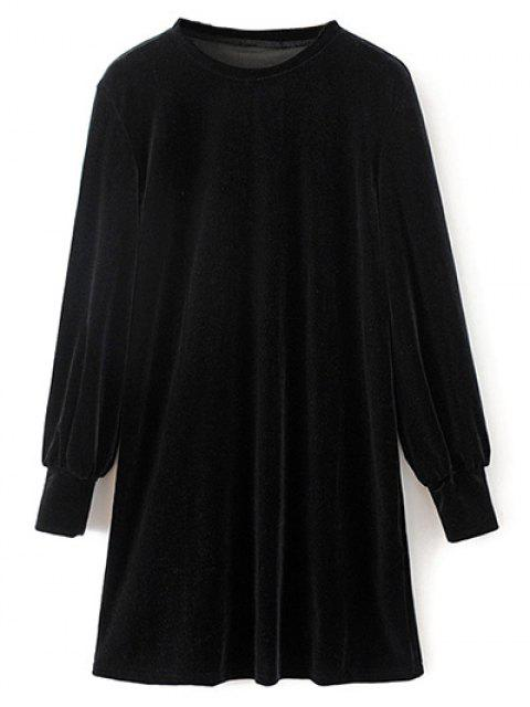 unique Velvet Tunic Dress - BLACK L Mobile