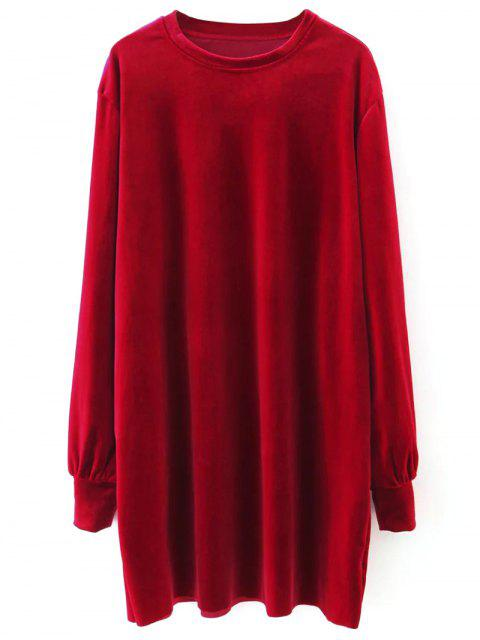 women Velvet Tunic Dress - RED S Mobile